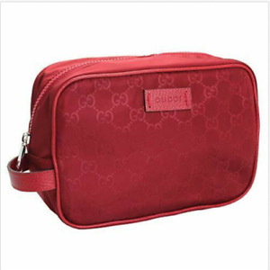 Gucci Red GG Guccissima Nylon Canvas Travel Toiletry Cosmetic Bag