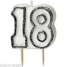"""3.5 """"NERO Sfarzo 18TH Compleanno glitter sagomato candela"""