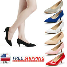 Women's Low Heels Pump Shoes Pointed Toe D'Orsay Slip On Pump Dress Shoes