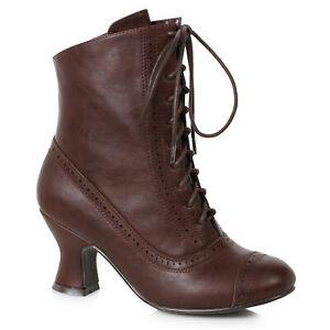 Ellie 253-SARAH Brown 2.5 inch Spool Heel Victorian Style Costume Women's Bootie