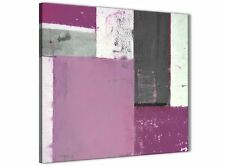 Purple Grey Abstract Painting Canvas Wall Art Picture - 64cm Square - 1s355m