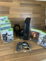 Microsoft Xbox 360 Slim 250gb Matte Black Console + Controller 6 x games Bundle