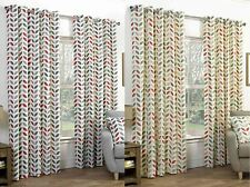 Abstract Cotton Blend Eyelet Top Curtains & Pelmets