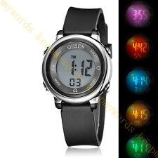 OHSEN Teen Kid Digital Sport 12/24 Hour Alarm 5 Model Light Quartz Watch Black
