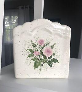 Napkin Mail Notes Holder Ceramic Speckled Pink Rose White Flowers Farm House