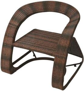 LOUNGE CHAIR BLACK DISTRESSED DESIGNER'S EDGE BROWN TAN IRON WOVEN