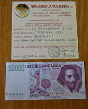 BANCONOTA LIRE 50000 BERNINI II TIPO 1992 RARA VARIANTE NUMERI SERIALI SPL+