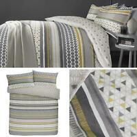 Ochre Duvet Covers Geometric Reversible Modern Grey Quilt Cover Bedding Sets