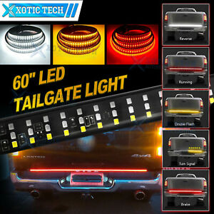 5-Modes 60 Inch LED Tailgate Light Bar Amber/White/Red Strip Light For Dodge Ram