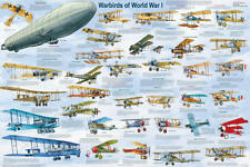 Warbirds of World War I Educational Military Airplanes Chart Poster 24x36
