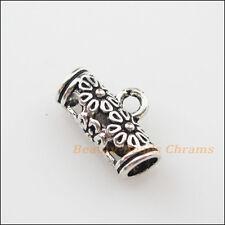 10Pcs Tibetan Silver Flower Charms Bail Beads Fit Bracelet 8.5x14.5mm