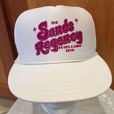 13687650 Vintage The Sands Regency Reno Hat Cap White Fuchsia One Sz Snap Back  Adjustable