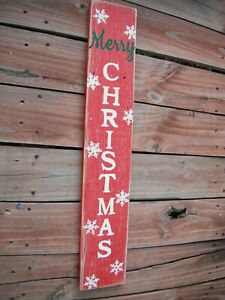 "Wood Porch Sign Merry Christmas  Vertical  Distressed Red Handmade 30"" Tall"