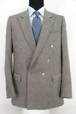 Brioni Italy Double Breasted Sport Coat Gray Pure Cashmere MOP Btns 41L