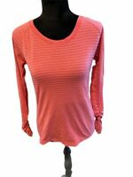 CALIA Carrie Underwood Womens Blouse Pink Stripe Long Sleeve Scoop Ruched Top M