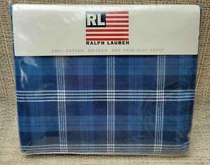 NWT RALPH LAUREN HOME Sweetwater AMERICANA BLUE Plaid TWIN FLAT SHEET ~ Vintage