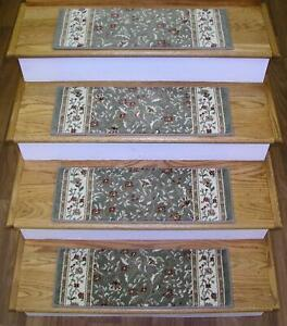 "Green Stair Tread Set of 7 Floral Non Slip Carpet Runner Treads 26""x9"" Rug Depot"