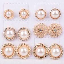 6Paar Set Damen Perle Kristall Strass Ohrringe Ohrschmuck Ohrstecker Modeschmuck