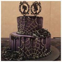 Halloween Decorations Black Acrylic Skull Etc Halloween Cake Fancy Party Ca P6M2