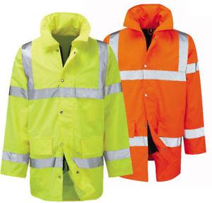 HI VIZ 2 Tone Parka Jacket Visibility Security Work Waterproof Coat Jackets