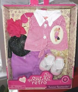 Our Generation Doll by Battat RETRO Summer Spectacular outfit shoes purse shorts