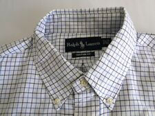 Polo Ralph Lauren Custom Fit  Herren Hemd Langarm Weiß Blau Kariert Gr. 16,5