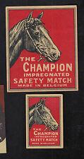 Ancienne  étiquette allumette  Belgique   BN8024 The Champion Cheval