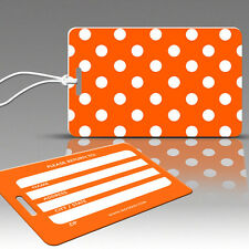 TagCrazy Polka Dot Luggage Tags, Orange & White, Durable Plastic Loops-1 Pack