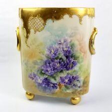 Limoges William Guerin Porcelain Hand Painted Cache Pot  Pre 1891