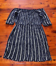 CITY CHIC BLACK/WHITE STRIPED BO HO OFF THE SHOULDER DRESS SIZE: S/M? BNWOT