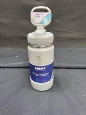 Takeya Kids Insulated Water Bottle w/Straw Lid, 14 Ounces,GREY