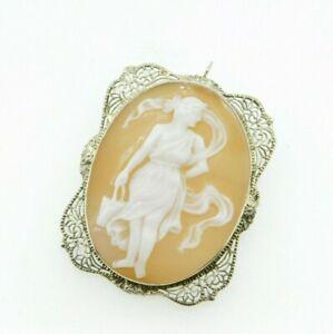 Art Deco 14K Gold Filigree Full Figure Genuine Natural Shell Cameo Pin (#J4359)