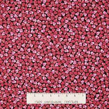 Valentine's Day Fabric - Kiss & Tell Red Pink Heart Toss - Benartex Kanvas YARD
