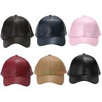 Men Women Leather Baseball Cap Unisex Snapback Outdoor Sport Adjustable Hat LOT