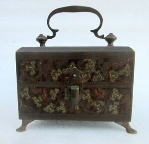Vintage Old Brass Meena Color Flower Work Traditional Rare Perfume Bottle Box