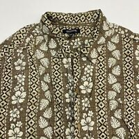 George Button Up Shirt Men's 2XL XXL Short Sleeve Brown Floral Print 100% Rayon