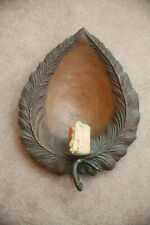 """tin leaf-shaped candle reflector late 1800's - set of two 13""""x17"""""""