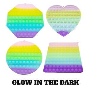 LARGE 20CM Pop Its Glow in the Dark Bubble Fidget Toy Push Bubble Stress Relief