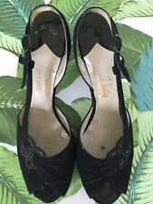 Vintage 1950s Black Suede Open Toe/Heel Women's I.Miller Shoes ~ Size 8 1/2 Aa