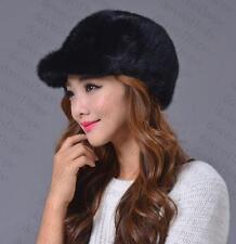 Winter Women Real New Mink Fur Hat Cap Headgear Beanie Beret QS 00030.1