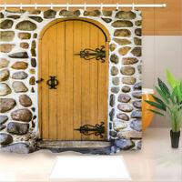 Wooden Doors Shower Curtain Waterproof Bath Curtains with 12 Hooks Bathroom