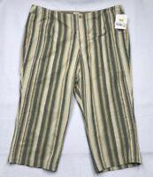 Liz Claiborne Womens Michaela Cropped Pants Multicolor Beige Stripe Plus 24W New