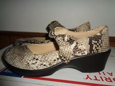 NEW Alegria Mary Jane Shoes Clogs Women's 41/ 10 1/2  Snake Print Leather