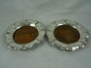 DUTCH, pair, solid silver WINE COASTERS, 1856