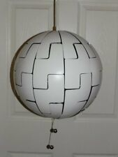 """Mid Century Inspired Ikea 14"""" White w/Chrome Silver Death Star Hanging Lamp"""
