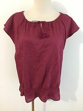 Ann Taylor Key-Hole Cap Sleeve Peasant Top Blouse Burgundy/Wine Cotton Size M