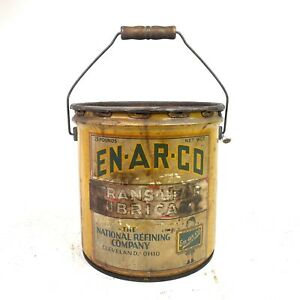 Vintage EN-AR-CO Motor Oil 5 Gallon Can w/ Wood Handle The National Refining Co.