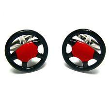 Wheel Race Gamepad Steering Wheel Car Cufflinks + Box & Cleaner
