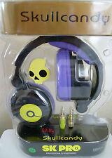 NEW Skullcandy SK Pro Sparkle Motion Black Purple Yellow Skull DJ Headphones