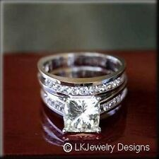 3.30 CT MOISSANITE PRINCESS & ROUND FOREVER ONE GHI WEDDING SET RINGS